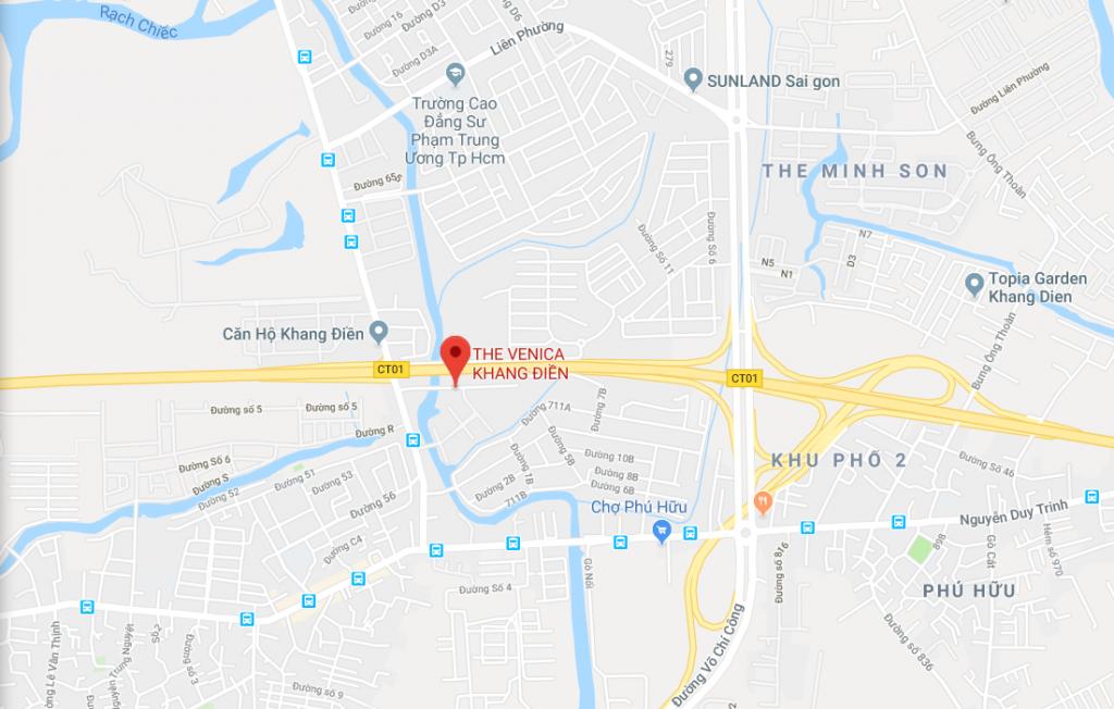 Map dự án căn hộ Khang Điền THE VENICA