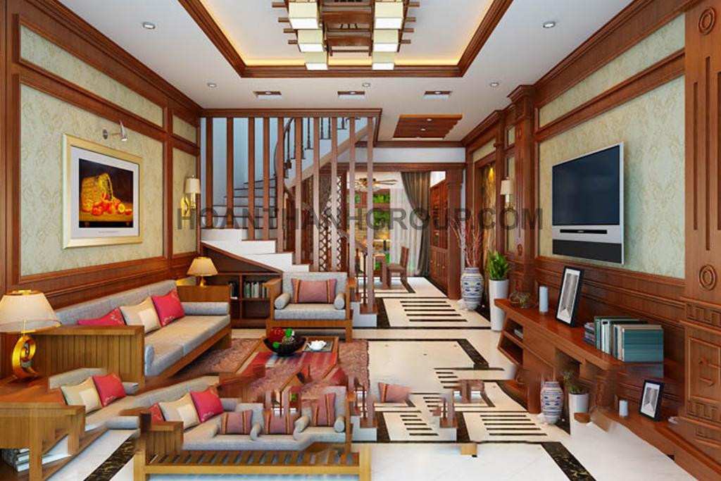 Mẫu thiết kế phòng khách nhà phố cổ điển