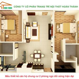 Mẫu thiết kế căn hộ chung cư 2 phòng ngủ đối xứng đẹp