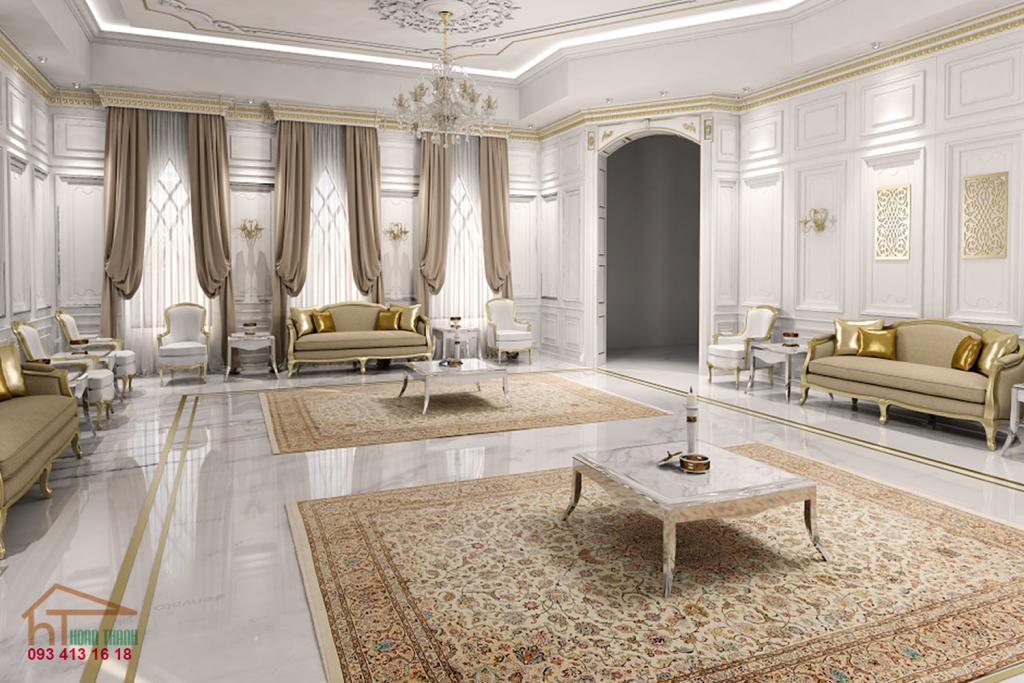 ;ẫu thiết kế nội thất phòng khách biệt thự cổ điển