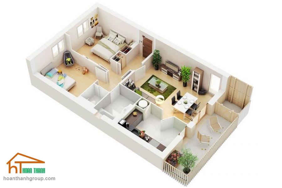 Mẫu thiết kế căn hộ chung cư 2 phòng ngủ