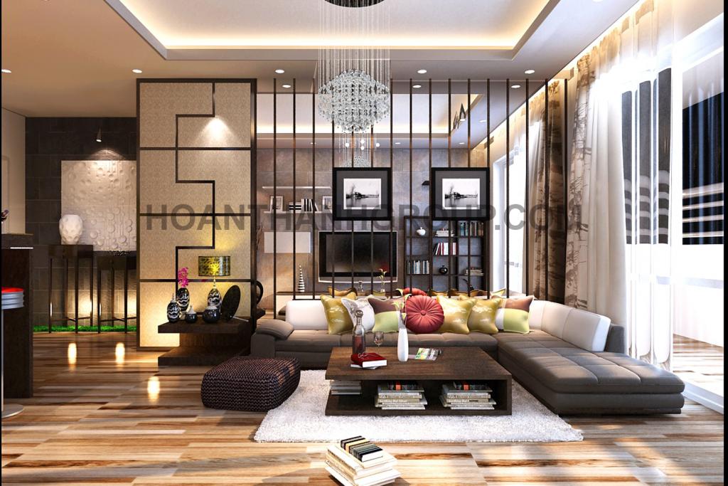 Thiết kế nội thất phòng khách căn hộ chung cư hiện đại kiểu Nhật