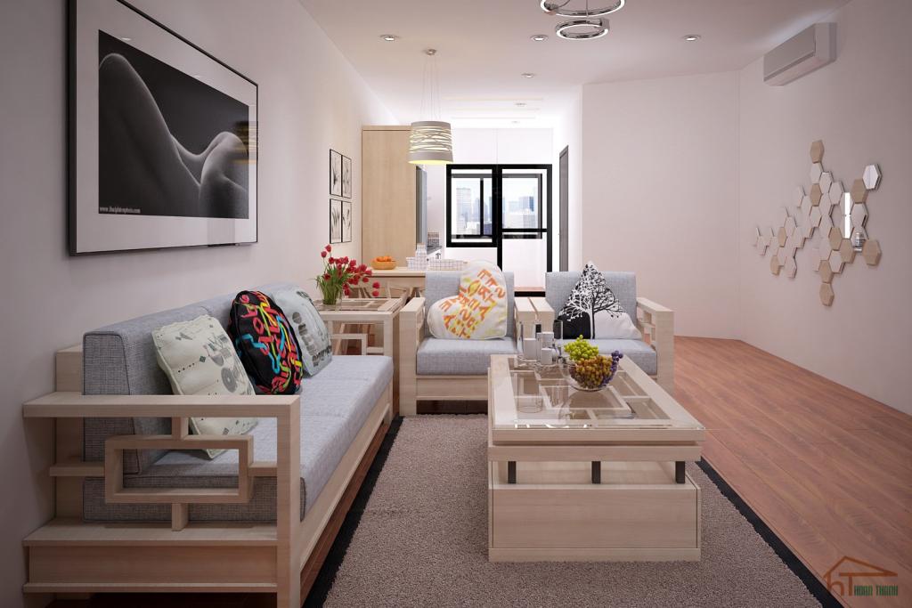 Thiết kế nội thất phòng khách chung cư hiện đại kiểu Hàn