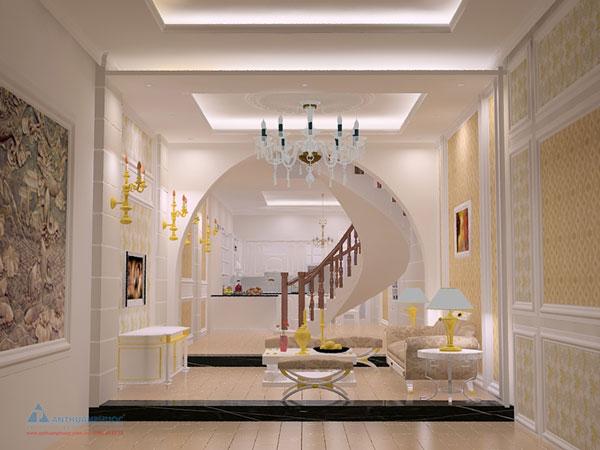 Mẫu thiết kế nội thất phòng khách nhà phố cổ điển