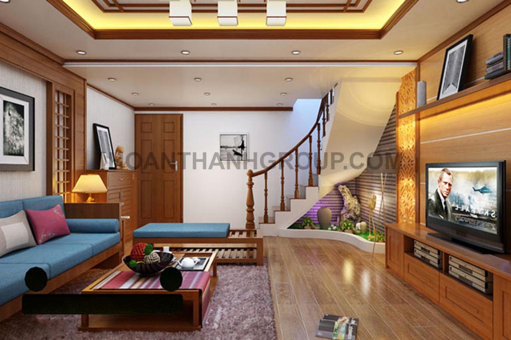 thiết kế nội thất phòng khách nhà phố cổ điển