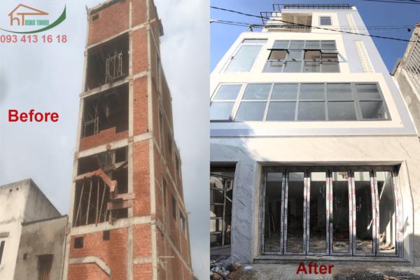 Thi công xây dựng nhà phố Nơ Trang Long quận Bình Thạnh trước và sau khi hoàn thành