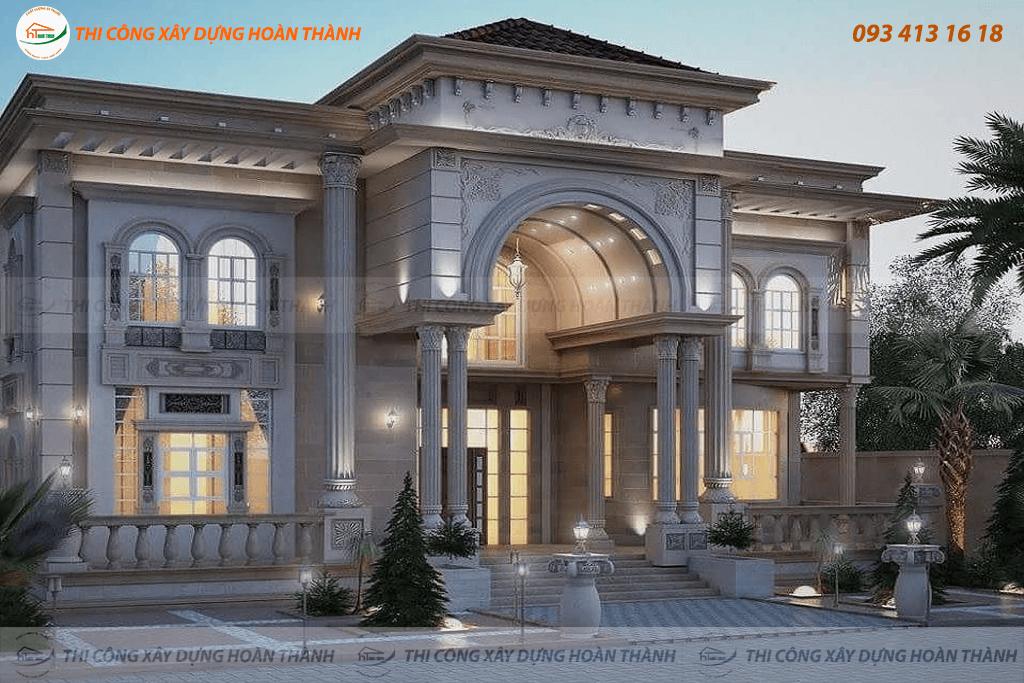 Bản vẽ phối cảnh biệt thự cổ điển phong cách châu Âu 3