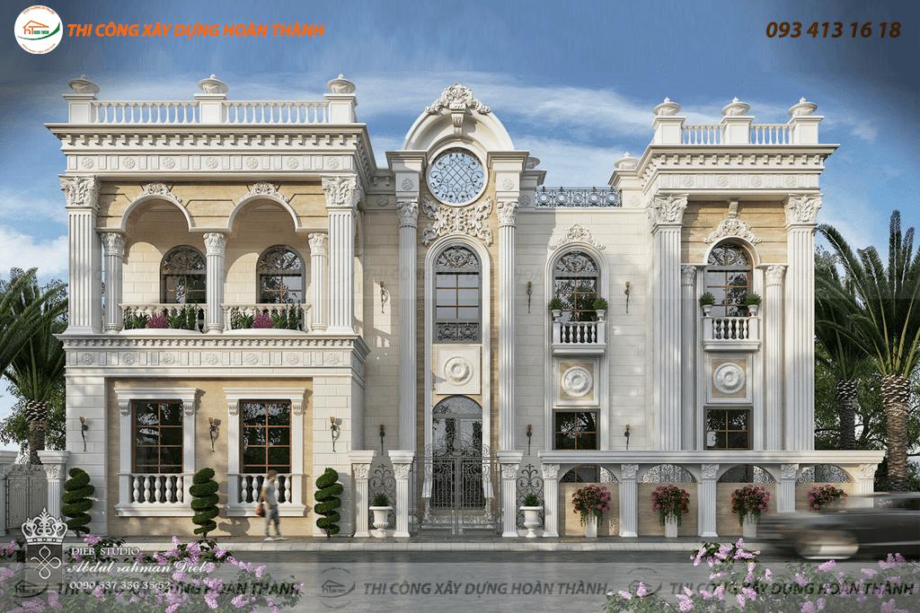 Bản vẽ phối cảnh biệt thự cổ điển phong cách châu Âu 5