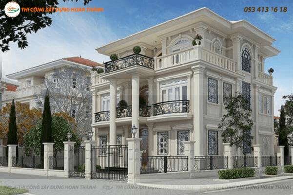 Bản vẽ phối cảnh biệt thự cổ điển phong cách châu Âu 7